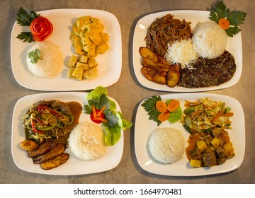 Various dishes of food chicken, meat, rice salad