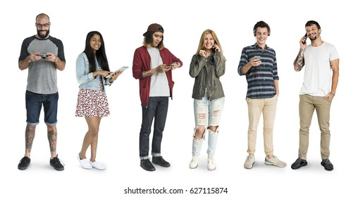 Various of diversity people standing using digital electronic on background