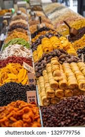 Various dried fruits on the Mahane Yehuda Market in Jerusalem.