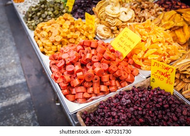 Various dried fruits on the Mahane Yehuda Market.