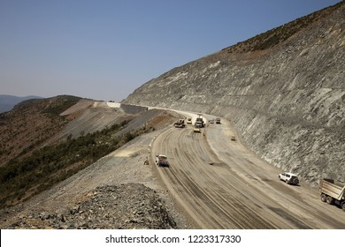 Various earthworks (excavation, transporation of fill materials, stockpiling, filling gabion wall construction, etc.) during a highway / road construction project