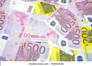 Various Euro banknotes of 200 and 500 Euro banknotes of Different texture