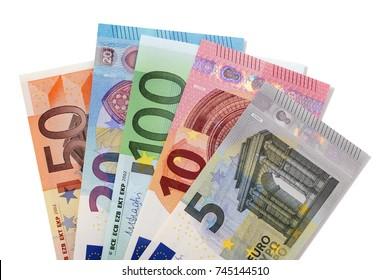 Various euros isolated