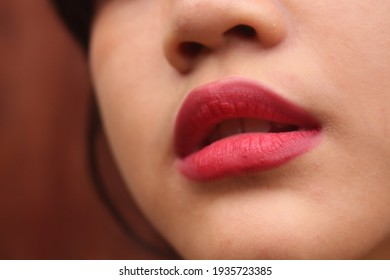 various expressions of the women lips
