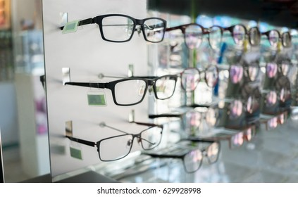 Various of eye glasses in the shop.Selective focus