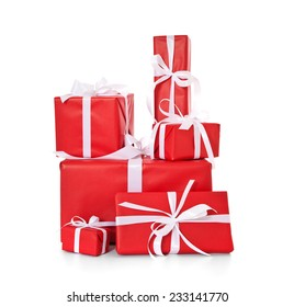 Various fine wrapped presents. All on white background.