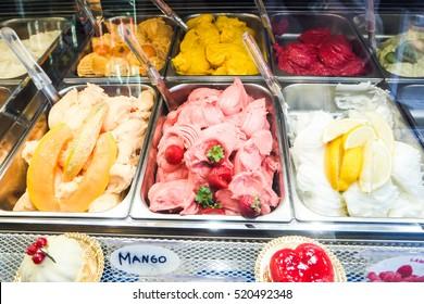 various flavors of gelato ice cream in italy