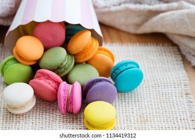 Various flavoured Macarons or Macaroon.