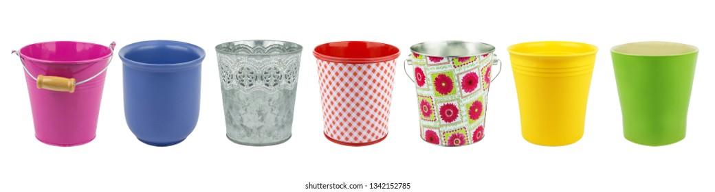 Various flower pots collage