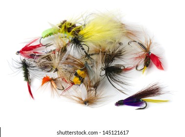 Various fly fishing lures - nymphs, dry flies and streamers isolated on white