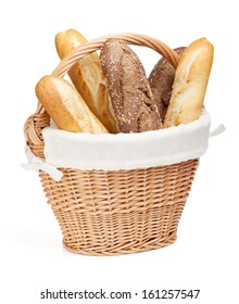 Various of french baguette basket. Isolated on white background