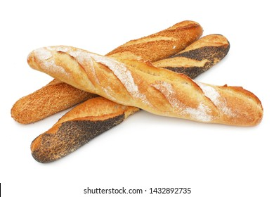 Various french baguette nature and with seeds on white background