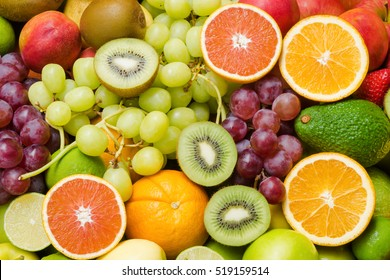 Various fresh fruits background for healthy