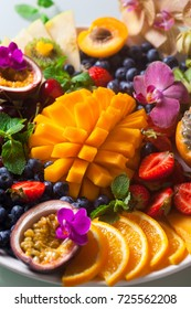 Various fresh fruits and berries.