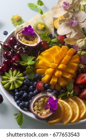 Various fresh fruits and berries. Top view