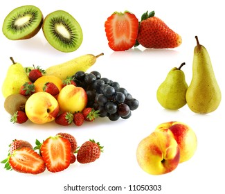 various of fresh juicy fruits over white background