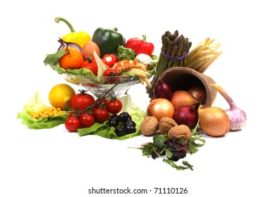 Various fresh products to make a healthy salad