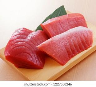 Various fresh raw tuna fillets