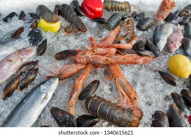 various fresh seafood on crushed ice closeup background