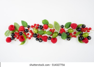 Various fresh summer berries. Ripe cherries and currant. Berries on white background. Top view