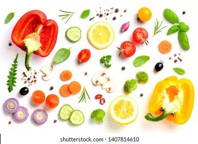 Various fresh vegetables and herbs on white background. Healthy eating concept. Top view.