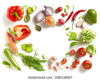 various fresh vegetables isolated on white background, top view