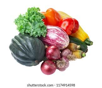 Various fresh vegetables kale, acorn squash, eggplant, zucchini, tomato, onion, pepper garlic isolated on white