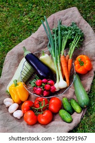various fresh vegetables on the coarse background in nature