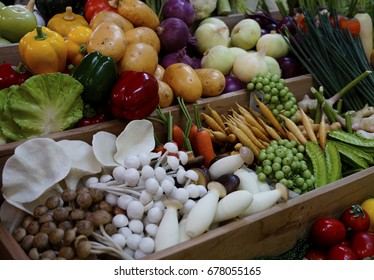Various fresh vegetables sold on the market.