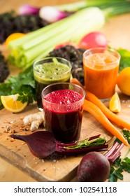 Various Freshly Squeezed Vegetable Juices