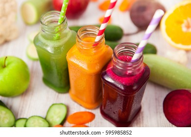 Various Freshly Squeezed Vegetable Juices for Detox Diet, selective focus