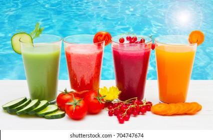 various Freshly Vegetable Juices