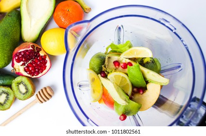 Various fruits in a blender for making a perfect smoothie