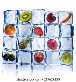Various Fruits in ice cube wall