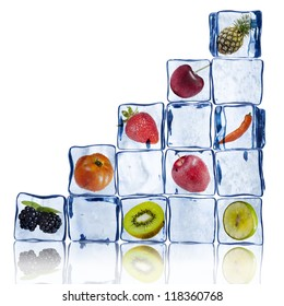 Various Fruits in ice cubes