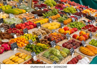 Various fruits on a market