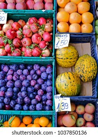 various fruits top view at the market, colorful natural background