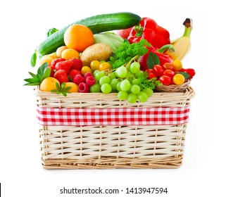 Various fruits and vegetables in a basket