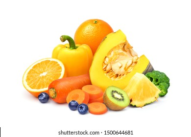 Various of fruits and vegetables, Sources of beta-carotene, isolated on white background.