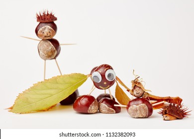 Various funny chestnut figures made of chestnuts and leaves in autumn