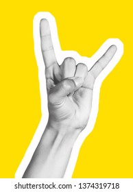 Various gestures of female fingers. Magazine collage. On a yellow background are trendy images. Woman hand making sign.  magazine style collage wit.