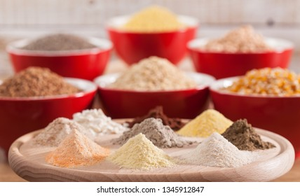 Various grains and cereals and their corresponding flours - healthy diversified diet choices concept