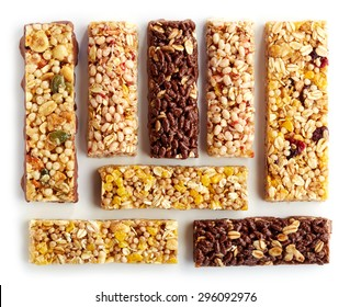 Various granola bars isolated on white background