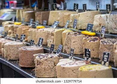 Various halva on the Mahane Yehuda Market in Jerusalem.