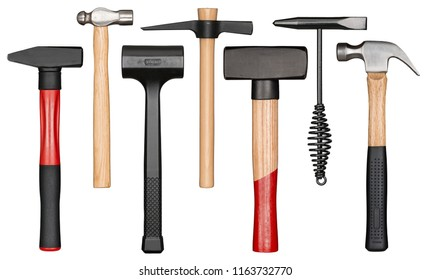 Various hammers isolated on white