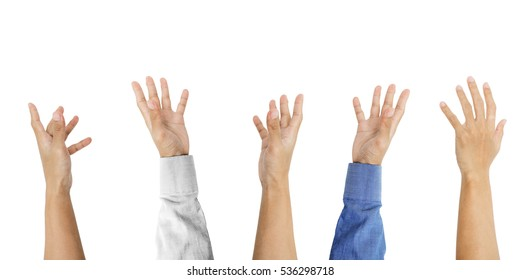 Various hand with tan skin raising up, isolated on white background