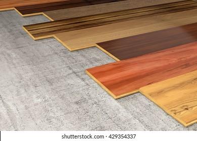 Various Hardwood planks 3D rendering
