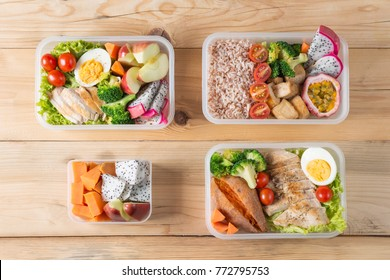 Various of Healthy lunch boxes, bento packed set in plastic package, clean food meal, Top view. Diet food delivery concept.