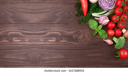 Various healthy products on wooden background with space for text. Banner of Healthy food. Organic food for healthy nutrition. Long banner format. Healthy breakfast ingredients, food frame.