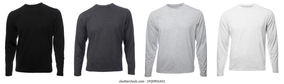 Various heather grey and black plain long sleeved cotton shirt templates on hollow invisible mannequin isolated on a white background